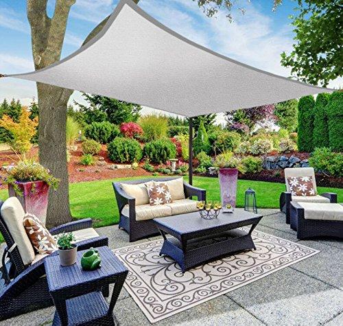 SAFETYON 4x468M Sonnenschutz Sonnensegel Segel Garten Shade Sail Schattensegel Sonnenschirm Zelt Terrasse UV Markise Dach Wasserdicht Grau 4x8M