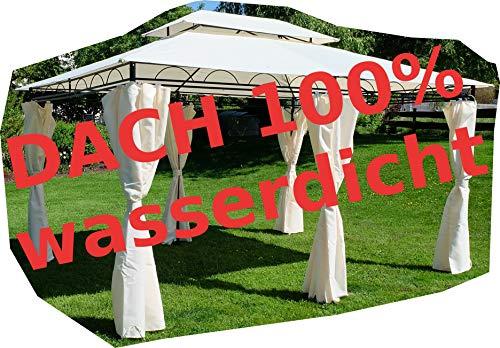 ASS Gartenpavillon Pavillon 3x4 Meter 12m² Dach 100 wasserdicht und UV30 Sonnenschutz mit 6 Vorhängen rechteckig von