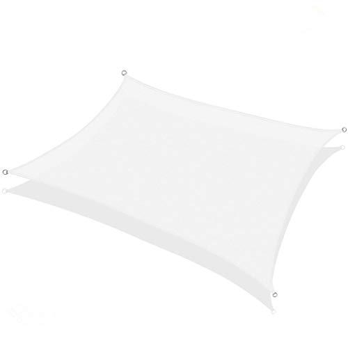 Frilivin Sonnensegel Rechteckig Sonnenschutz Garten UV Schutz Premium Schatten Tuch Markisen Weiß 2x2m