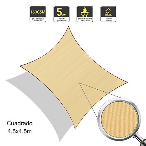 SUNLAX Wasserdicht Sonnensegel Sonnenschutz Garten - Quadrat 45x45m UV-Schutz wetterbeständig Segel Sand