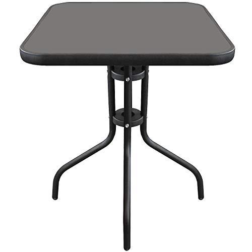 Wohaga Bistrotisch 60x60xH70cm Schwarz Balkontisch Glastisch Beistelltisch Gartentisch mit Glasplatte