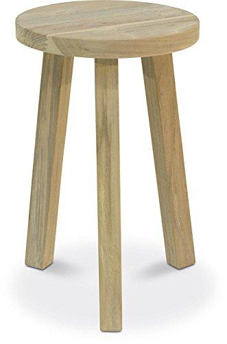 ALPINE Teakholz Holzhocker rund Sitzhocker Beistelltisch massiv vintage-grau