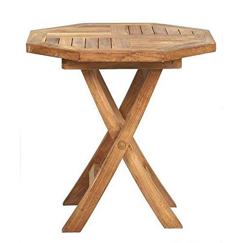 Beistelltisch Holz massiv achteckig Teakholz unbehandelt 50x50cm Gartentisch - Tamara