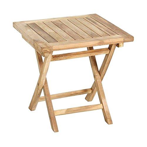 Beistelltisch Holz massiv viereckig Teakholz unbehandelt 50x50cm Gartentisch - Tamara