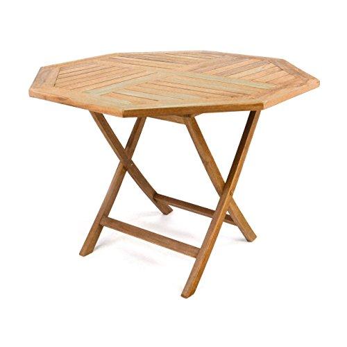 DIVERO GL05529 8-eckiger Balkontisch Gartentisch Beistelltisch Holz Teak Tisch für Terrasse Balkon Wintergarten witterungsbeständig behandelt massiv Ø 100 cm natur