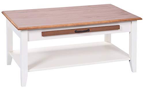 H24living Couchtisch Massiv Sofatisch Holz Tisch Beistelltisch Stubentisch eine Schublade Ablageboden Wohnzimmertisch Wohnzimmer Landhaus-Stil Massivholz Möbel 100 x 60 x 45 cm