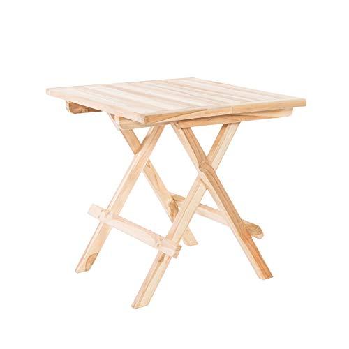 MACOShopde by MACO Möbel Klappbarer Beistelltisch Gartentisch aus Teak Holz 50x50 quadratisch - Holztisch massiv