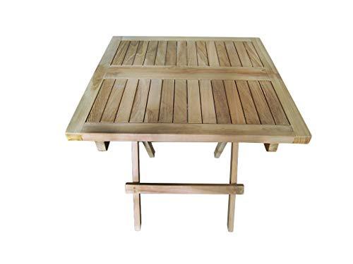 Tinggal Beistelltisch Marina Teak Holz Gartenmöbel Klapptisch Massiv Quaratisch 50cm DI2902