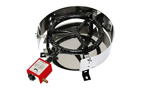 MUURIKKA Gasbrenner D300 Tischgerät 1-Brennring 30cm regulierbar für Wok Grillplatte und Paella komplett emailliert