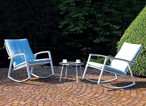 3er Sitzgruppe Scandic 2X Schaukelstuhl  Beistelltisch hellblauWeiss mit Auflagen Loungegruppe Sitzgarnitur Garten Terasse Stahlgestell Outdoor