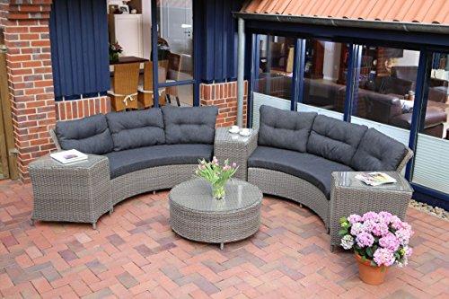 Dreams4Home Lounge Set Riolas - Set rund 2 x 3er Sofa 200 x 94 x 85 cm 3x Beistelltisch 66 x 52 x 63 cm 1x Sofatisch rund  90 x 38 cm inkl Polster anthrazit Geflecht in vintage grau