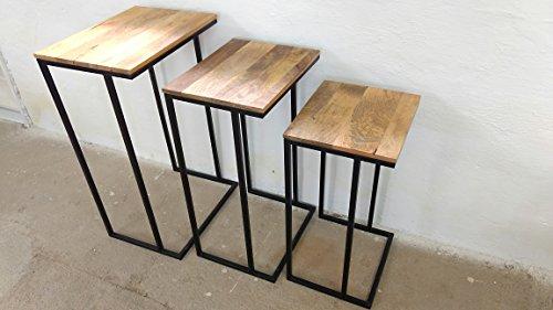 Indoortrendcom Beistelltisch Ablagetisch 3er Set Mango Metall Massivholz Shabby Chic Handarbeit