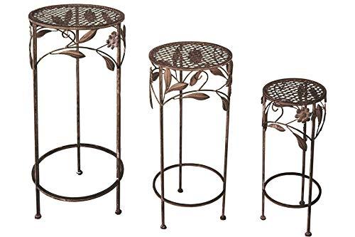 Unbekannt 3er Set Garten Metall Beistelltisch 50-70 cm rund Antik br