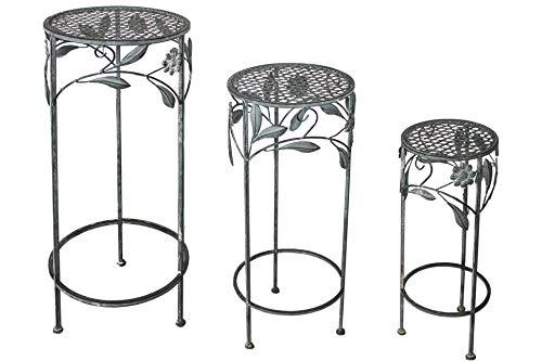 Unbekannt 3er Set Garten Metall Beistelltisch 50-70 cm rund Antik gr
