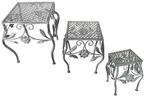 Unbekannt 3er Set Garten Metall Beistelltisch Antik grau 3 Größen Blum