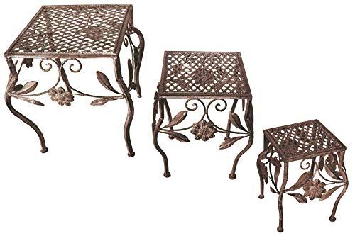 Unbekannt 3er Set Garten Metall Beistelltisch eckig Antik braun 3 Größ