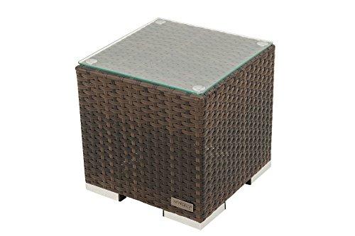 OUTFLEXX Beistelltisch aus hochwertigem Polyrattan in braun marmoriert inkl Glasplatte 40 x 40 x 40 cm Kleiner Garten-Tisch Couchtisch wetterfest pflegeleicht für den Outdoor-Bereich geeignet