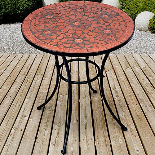 Jago Mosaik Gartentisch Ø 60 cm  Mosaiktisch  Beistelltisch für den Garten und Terrasse  Metall Gestell und Stein Mosaik