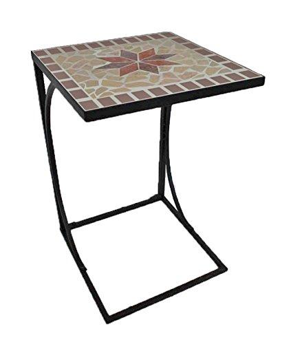 Unbekannt VARILANDO Beistelltisch Armand aus Metall und Mosaik Kaffeetisch Gartentisch Metall-Tisch Mosaik-Tisch Deko-Tisch