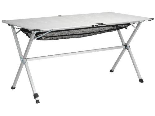 Campart Campingtisch Reisetisch - 140 x 80 cm wetterbeständige Rolltischfläche aus Aluminium mit Verstaunetz und Transporttasche TA-0806