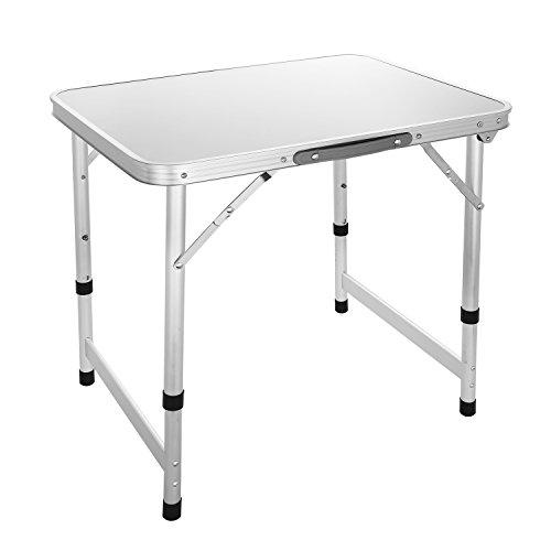 Coorun Aluminium Kleiner Campingtisch klappbar Picknicktisch Falttisch höhenverstellbar Klapptisch 60 x 45 x 56cm Silber