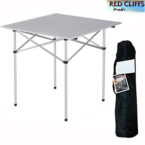 Red Cliffs Aluminium Campingtisch - Gartentisch - Rolltisch - Klappbar - LxPxH 71 x 71 x h 70 cm