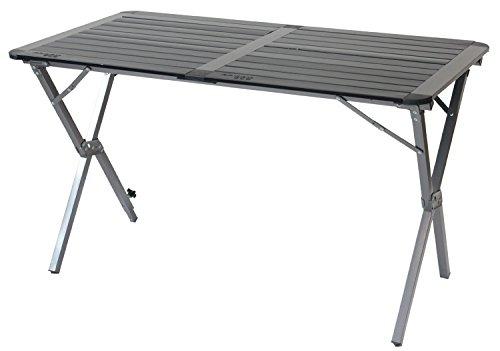Yellowstone Campingtisch aus Aluminium mit zusammenrollbarer Tischplatte Doppeltisch Graphit und Schwarz