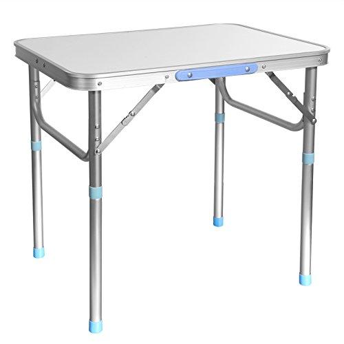 Acecoree Alu Campingtisch Klapptisch 60 x 45cm Multifunktionstisch Portable Outdoor Picknicktisch Gartentisch mit Tragegriff Weiß 88