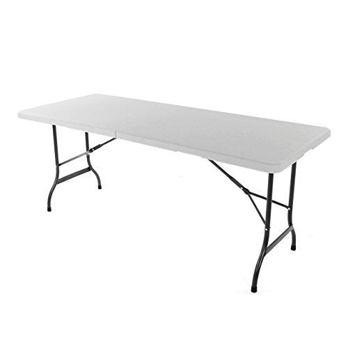 Nexos Klapptisch 183 x 76 x 74 cm Partytisch Catering Gartentisch klappbar Campingtisch bis 170 kg stabil robust wetterfest 185 kg Tragegriff weiß braun schwarz Farbe wählbar Weiß
