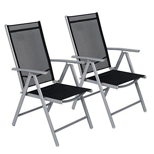 CCLIFE Alu Klappstuhl Klappstühle Gartenstuhl Aluminium Campingstuhl Hochlehner mit Armlehne 7-Fach Verstellbar FarbeHellgrau Größe2er-Set