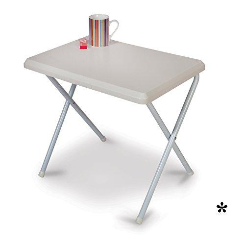 Klapptisch weiß aus widerstandsfähigem Kunststoff 51x37cm • Campingtisch Gartentisch Koffertisch Falttisch Tisch Bierzelttisch