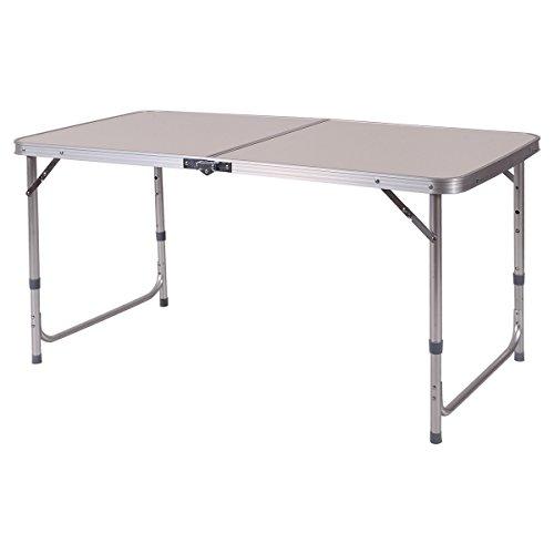 höhenverstellbarer Campingtisch Klapptisch Falttisch Gartentisch Beistelltisch Balkontisch Koffertisch Alu 120x60cm
