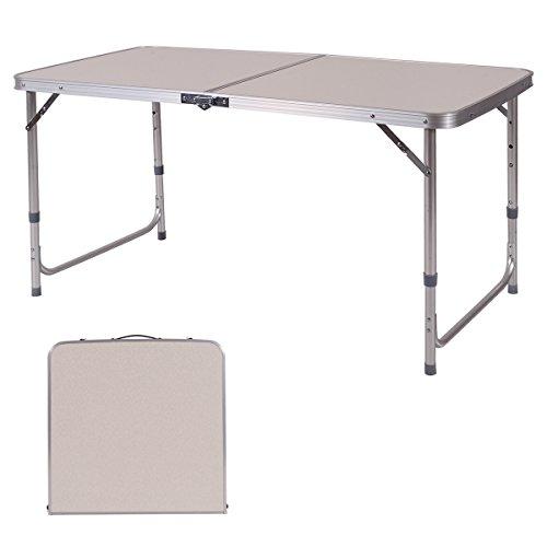 COSTWAY Campingtisch 120x60x70cm Klapptisch Falttisch Gartentisch Koffertisch ALU 3-Fach höhenverstellbar