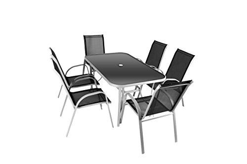 Nexos 7-Teiliges Gartenmöbel-Set – Gartengarnitur Sitzgruppe Sitzgarnitur aus Stapelstühlen Esstisch – Aluminium Kunststoff Glas – Schwarz Grau