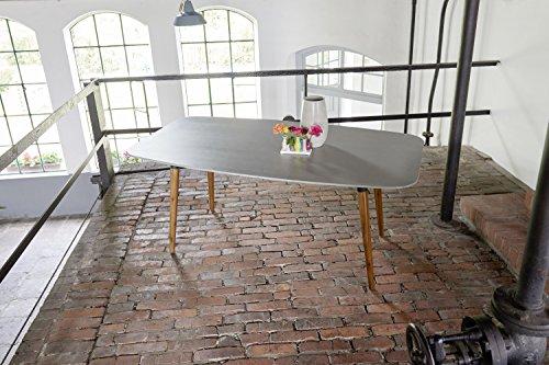 Ribelli Gartentisch Bali - Esstisch grau braun für Garten Terrasse Balkon rechteckig Tischbeine Akazie massiv - Tisch mit Tischplatte in Beton Optik