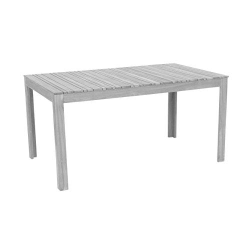 greemotion 128669 Gartentisch MAUI aus Holz-Esstisch Garten Terrasse Balkon-Holztisch rechteckig aus Akazie massiv-Tisch wetterfest für draußen Grau 150 x 75 x 90 cm
