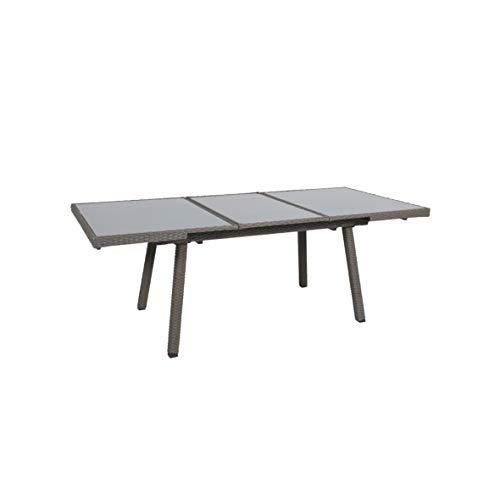 greemotion Ausziehtisch Malmö grau Tisch mit Sicherheitsglasplatte Esstisch für In- und Outdoor ausziehbarer Gartentisch Maße ca 160220 x 90 x 75 cm