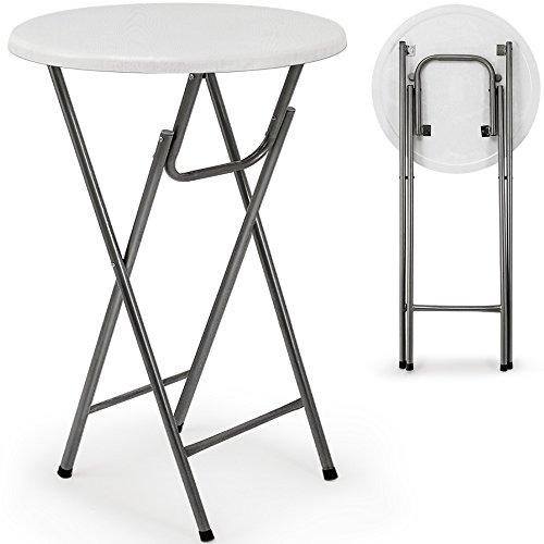 Deuba Stehtisch Tisch Gartentisch klappbar Klapptisch Bistrotisch Bartisch weiß Holzdekor MDF