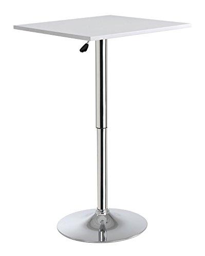 Home4You Stehtisch Bistrotisch Beistelltisch Torsten 1  Weiß  Metall  höhenverstellbar  60x60