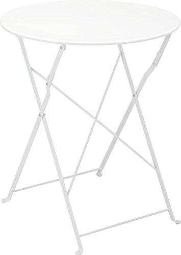 Metall Bistrotisch Ø 60 cm in weiß - Platz sparend zusammenklappbarer GartentischBeistelltisch