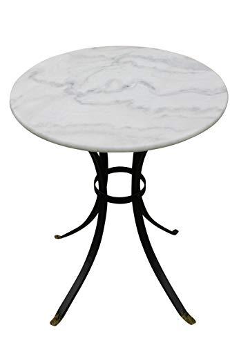 Weißer Bistrotisch mit Marmortischplatte  für den Einsatz Zuhause oder in Geschäftsräumen geeignet