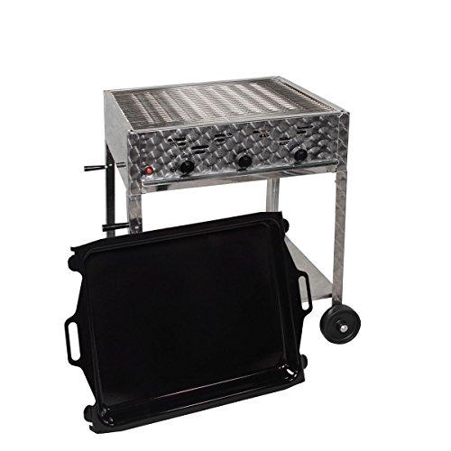 LAG Gasgrill-Kombibräter 12 kW fahrbar mit Grillrost und emaillierter Stahlpfanne 3-flammig Gasgrill Grill Gastrobräter Profigrill Verein