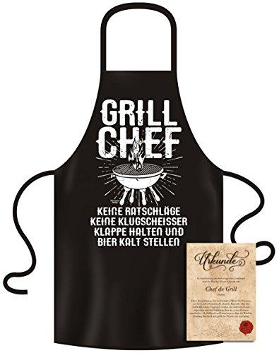 Soreso Design Grillschürze für Männer Frauen  Verschiedene Motive witziges Geschenk Set  Grill Chef Farbe schwarz