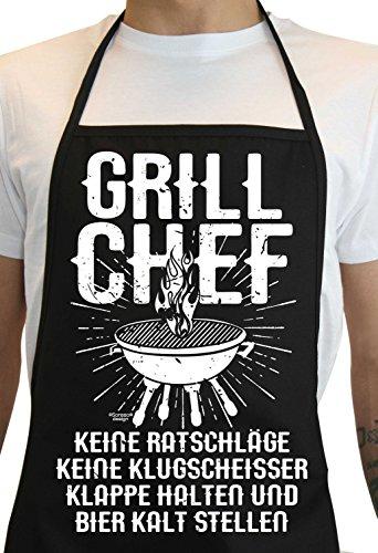 Soreso Design Lustige Sprüche Grillschürze für Männer  Grill Chef  Plus Geschenkkarte Farbe Schwarz