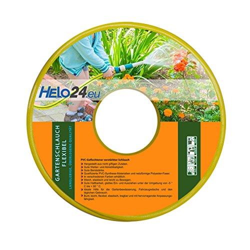 HELO Gartenschlauch 50 m 1 Zoll gelb verstärkter 3-Schichten Wasserschlauch aus flexiblen PVC mit netzförmiger Polyester Faser 10 Bar Berstdruck hohe Abriebfestigkeit elastisch weich und leicht zu bewegen