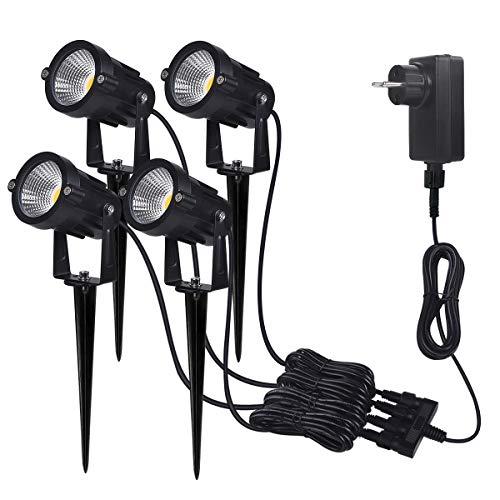 GartenleuchteSanGlory 7W 4er Pack Gartenbeleuchtung IP65 Wasserdicht800LM LED Strahler mit ErdspießLED Gartenstrahler mit stecker und Adapter3000K Warmweiß Garten Scheinwerfer Gartenlampe