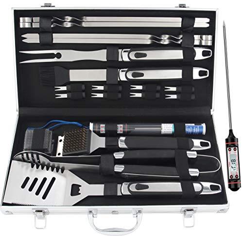 Romanticist 20pcs Edelstahl Grillbesteck Set im Aluminium-Koffer BBQ Grill Zubehör Set fürs Camping fürs Dad mit Geschenkpaket