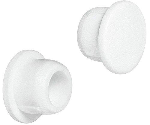 Gedotec Möbel-Abdeckkappen weiß Schrauben-Abdeckungen rund Schrauben-Kappen Kunststoff  H1119  für Blindbohrung  Ø 6 mm  50 Stück