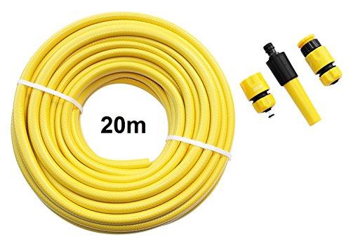Artecsis Gartenschlauch-Set 20m ½ Zoll 127mm PVC-Wasserschlauch mit Anschlüssen Spritze mit Aquastop Hahnanschluss
