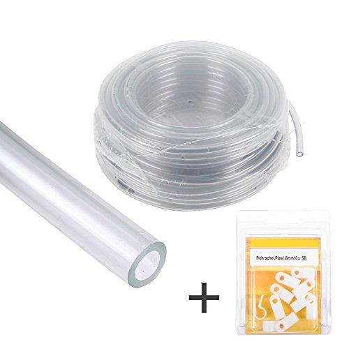 Wasserschlauch Set 10 Meter Wasserleitung transparent klar 8 mm  10 Schlauchschellen zur Wasserinstallation  Wohnwagen Wohnmobil